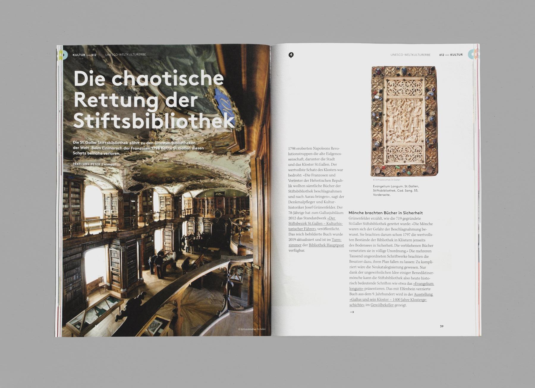 612 Zufall, S. 38-39, Stiftsbibliothek St. Gallen, Das Guide-Magazin von St. Gallen Bodensee Tourismus, Ausgabe 02, produziert von Pur Kommunikation