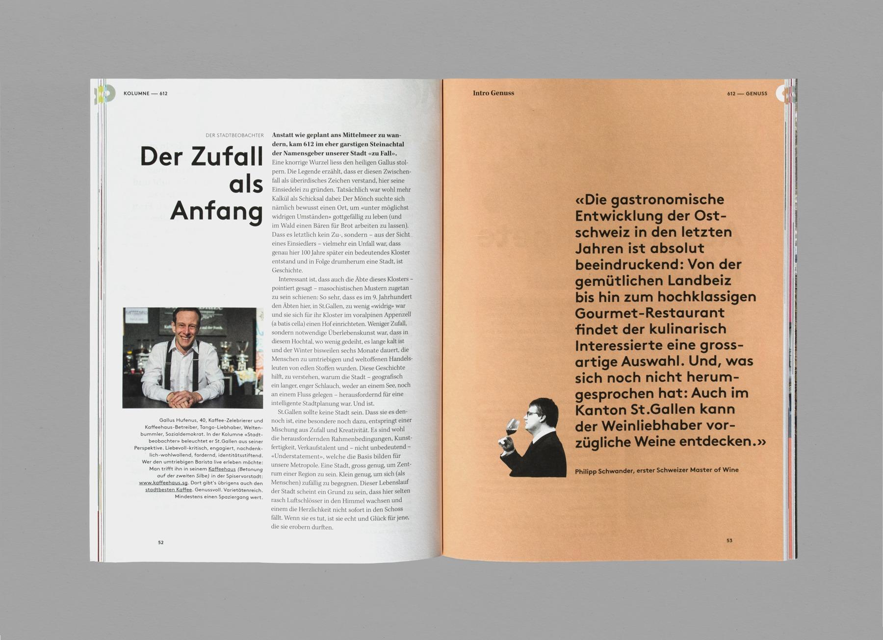 612 Zufall, S 52-53, Interview Gallus Hufenus, Zitat Philipp Schwander, Das Guide-Magazin von St. Gallen Bodensee Tourismus, Ausgabe 02, produziert von Pur Kommunikation