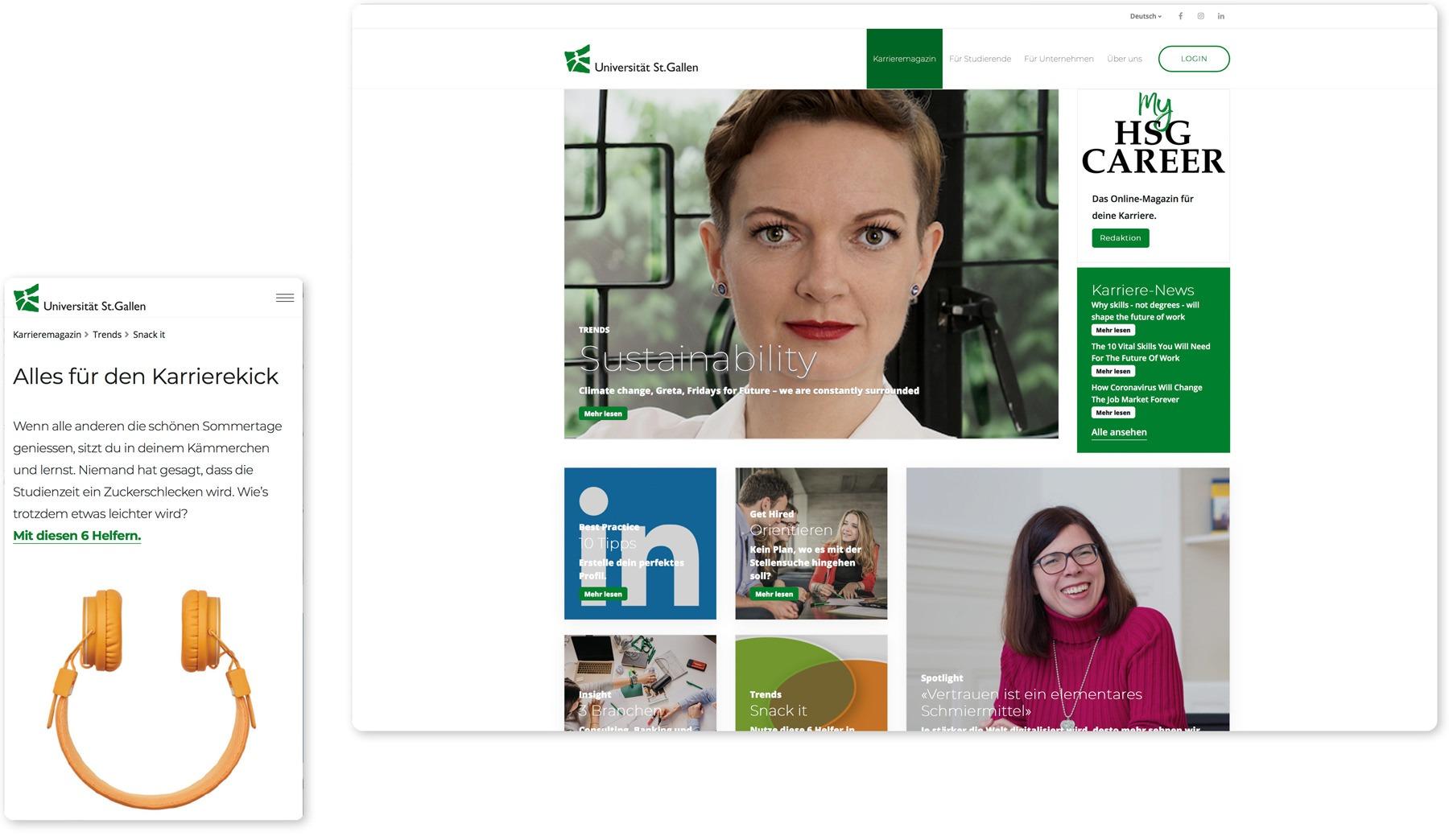 Aufsicht des Karrieremagazins und responsive Web-Ansicht des Career Centers der Universität St. Gallen, entwickelt und produziert von Pur Kommunikation.