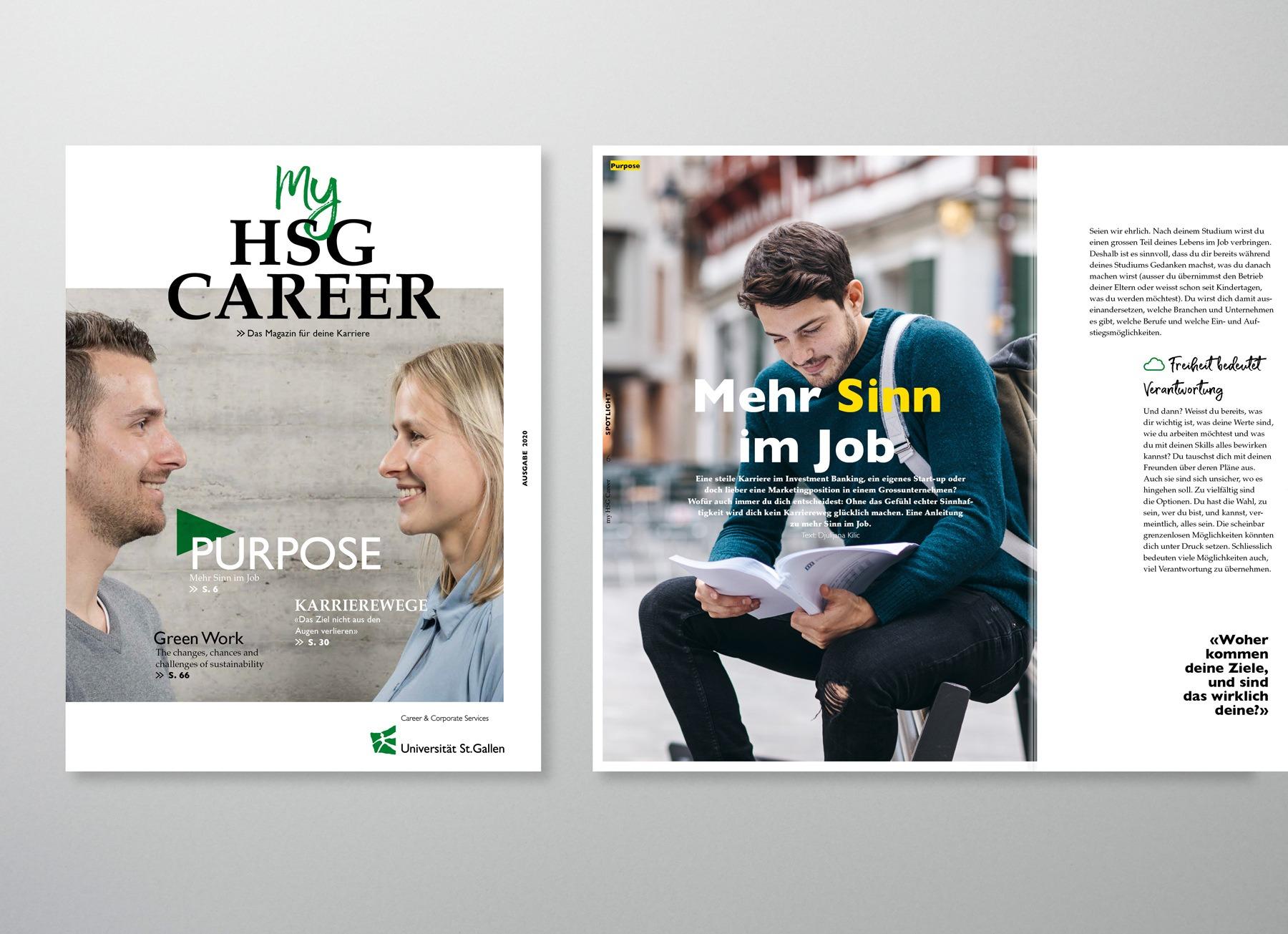 Aufsicht des Karrieremagazins des Career Centers der Universität St. Gallen, entwickelt und produziert von Pur Kommunikation.