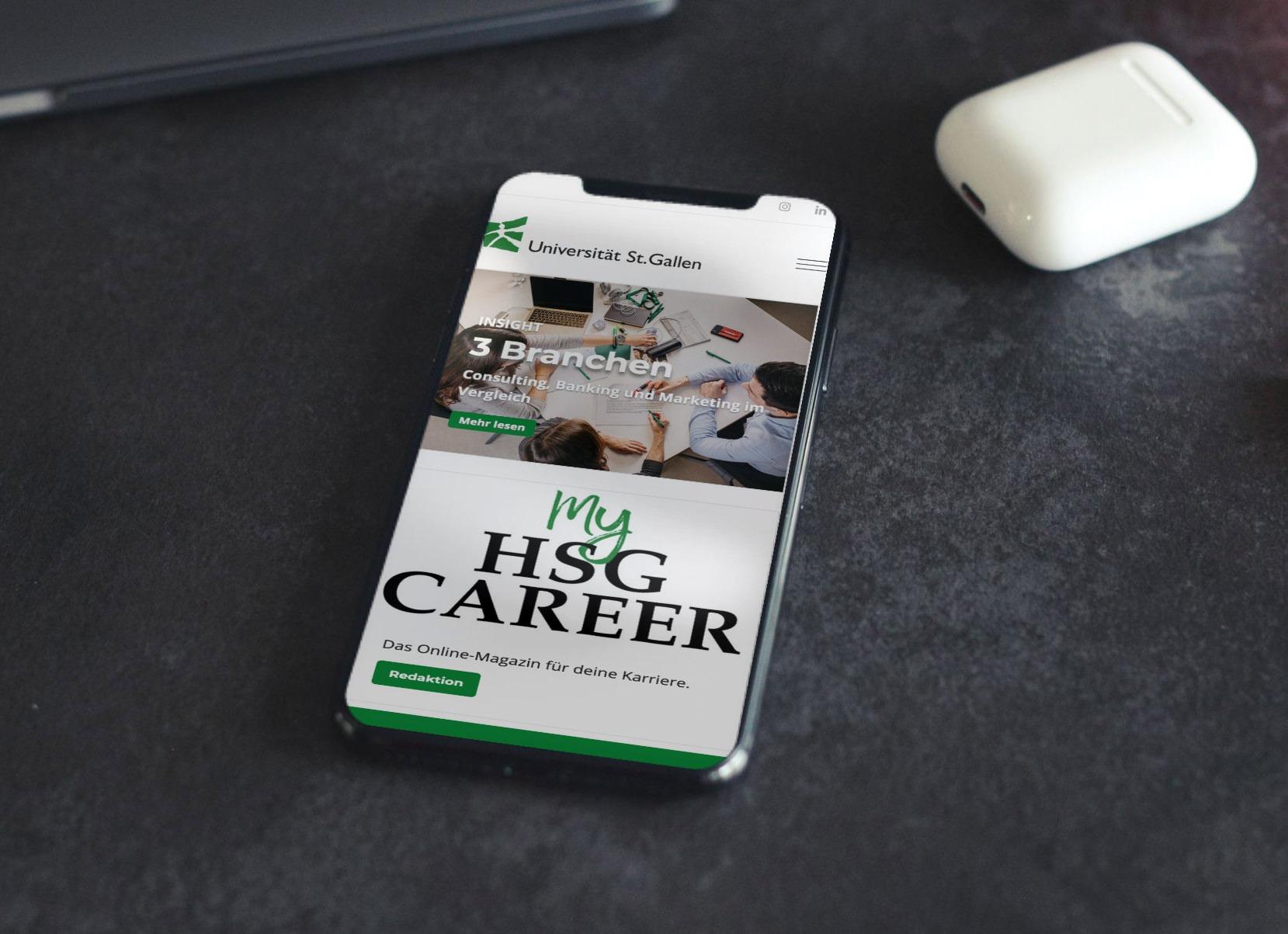 Responsive Smartphone-Ansicht des Karrieremagazins des Career Centers der Universität St. Gallen, entwickelt und produziert von Pur Kommunikation.