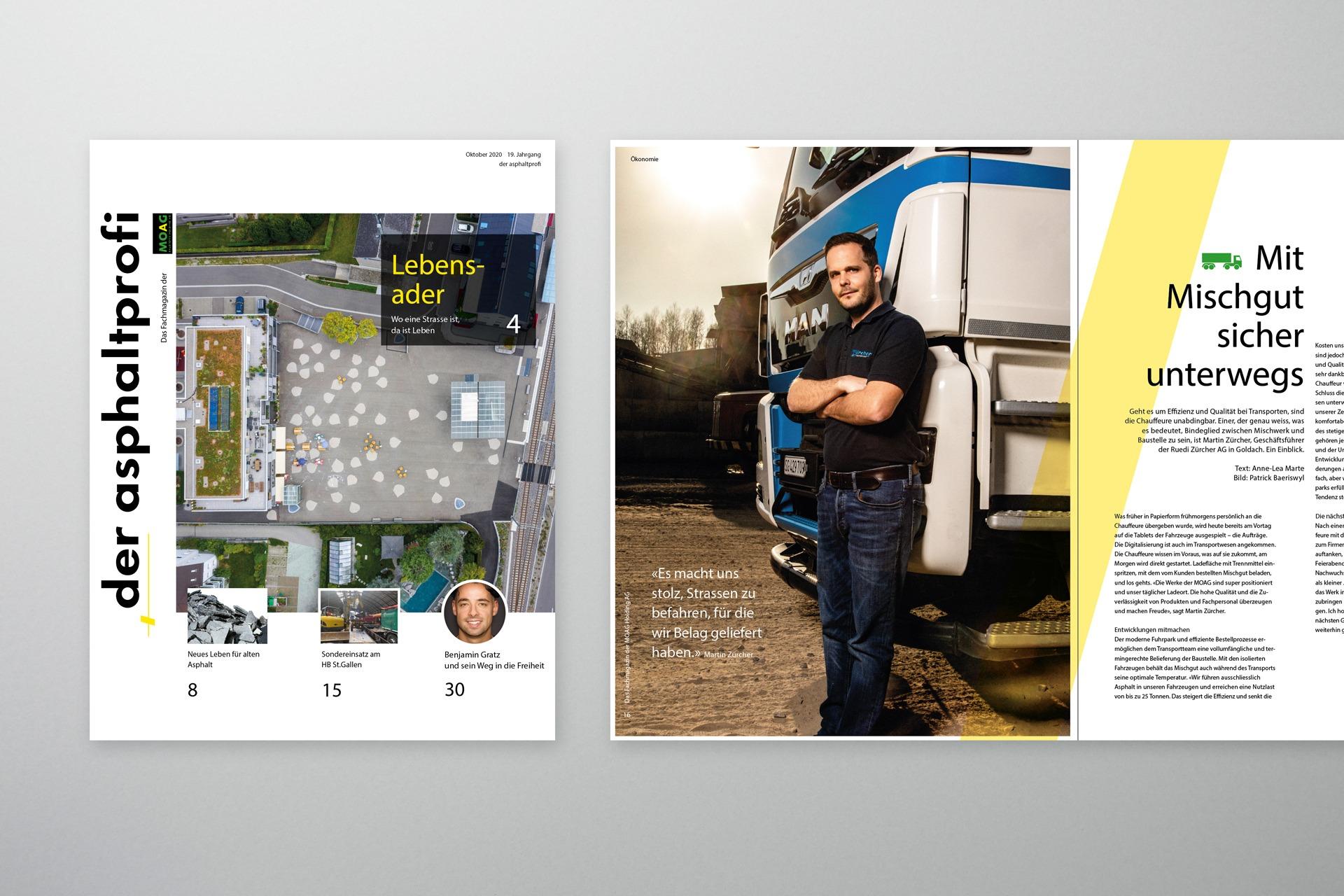 Print-Magazin Der Asphaltprofi von MOAG Baustoffe AG, konzipiert und produziert von Pur Kommunikation AG.