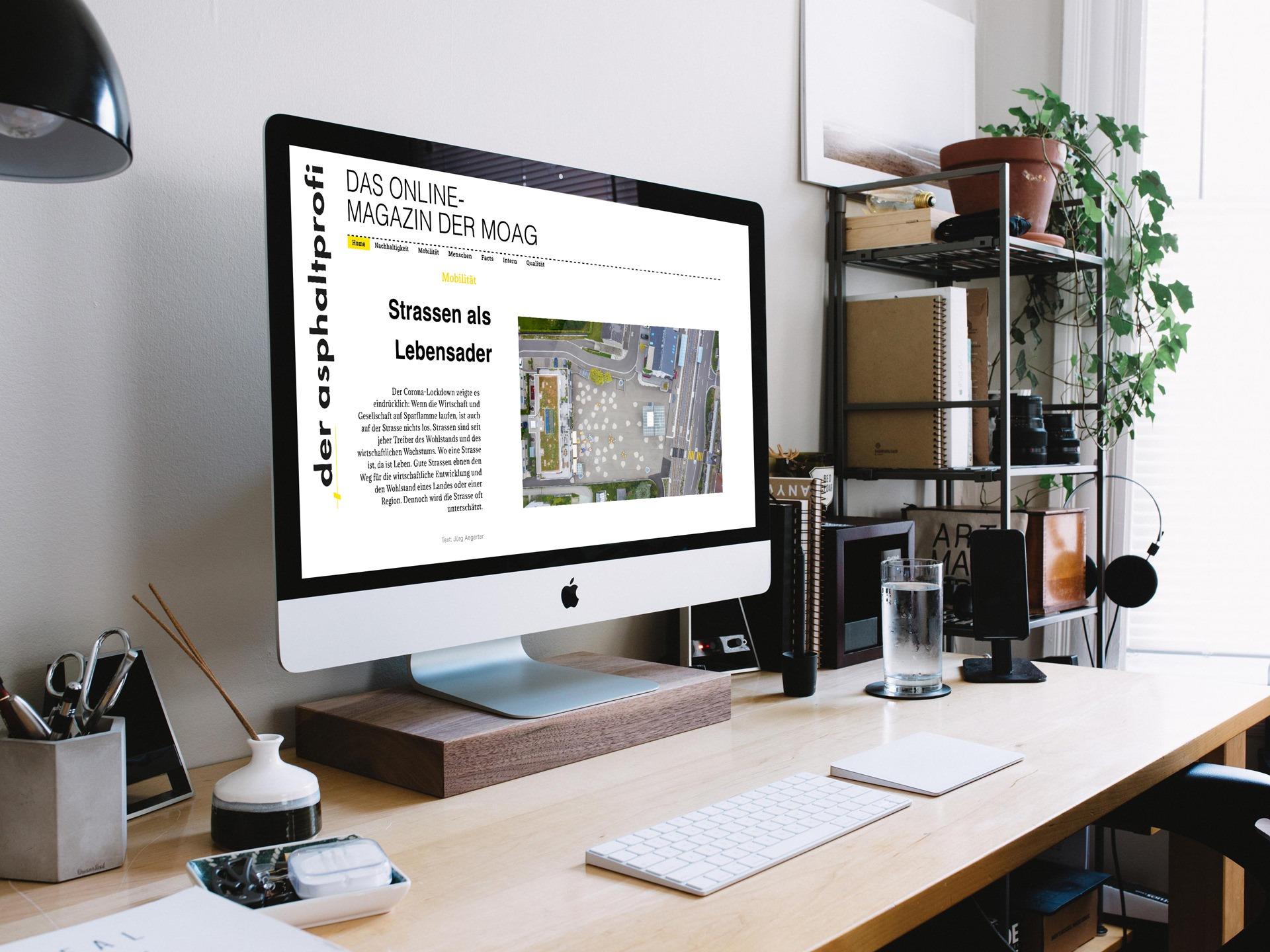 Online-Magazin Der Asphaltprofi von MOAG Baustoffe AG, konzipiert und produziert von Pur Kommunikation AG